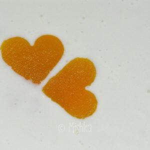 Tvarohové srdce s broskvovými srdci, detail srdíček