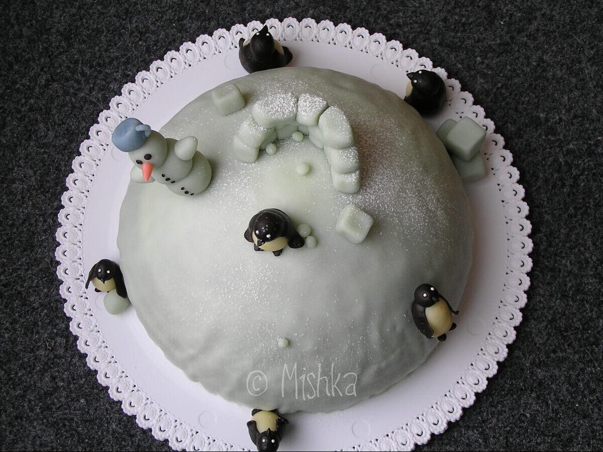 Zimní dort s tučňáky