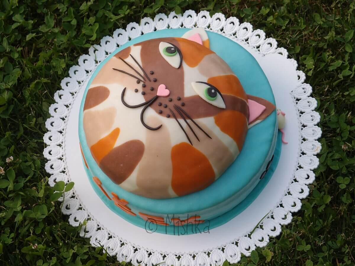 Patrový dort s kočkou