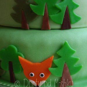 Liška na boku dortu