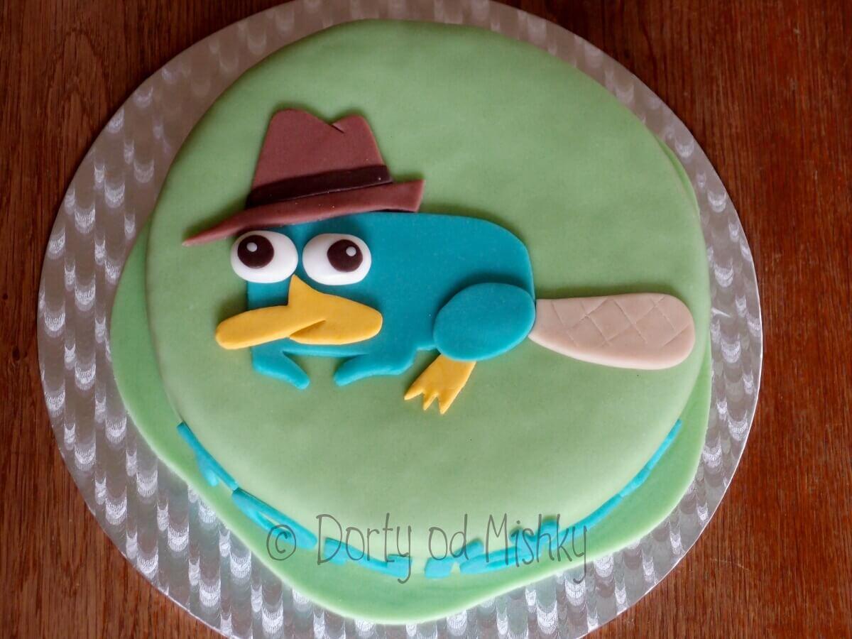 Ptakopysk Perry na dortu